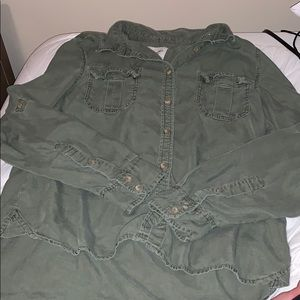 American Eagle Army Green Button Down Top